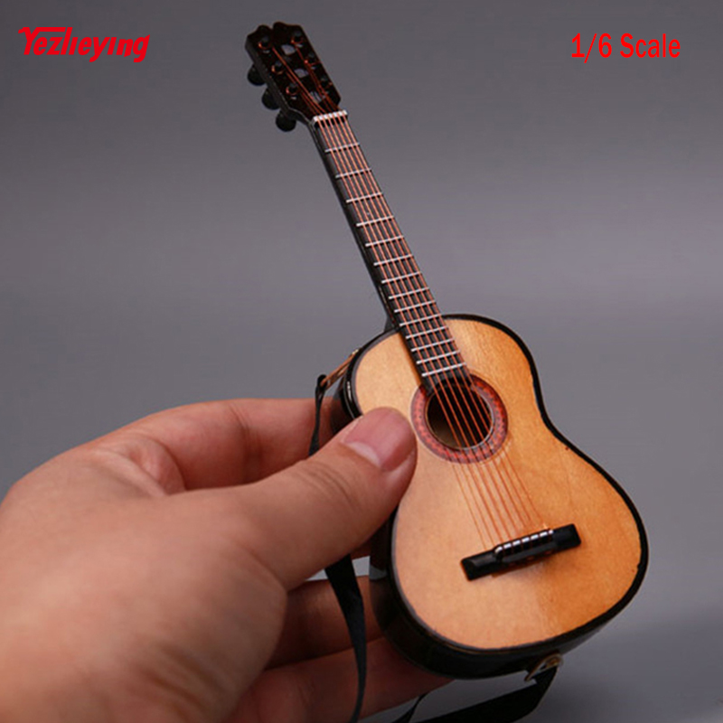 1/6 Scale Log Songs Guitar Accessories Miniatura Display Folk Model Musical Collection for 12 inches Action Figures Dolls Toy