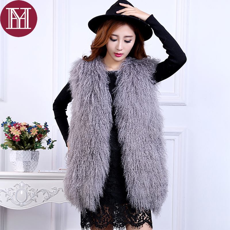 Women fur coat sleeveless lady casual  Mongolia Sheep Fur vest 2018 hot sale female fashion fur vest real sheep fur clothes-in Real Fur from Women's Clothing    1