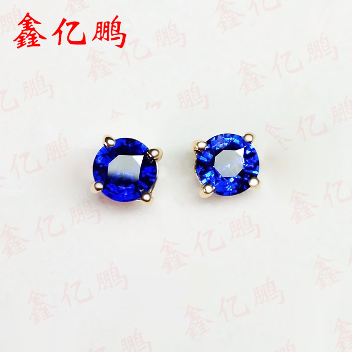 18 k gold inlaid natural Sri Lanka sapphire studs earrings Fashion contracted fine jewelry sri lanka peregrine