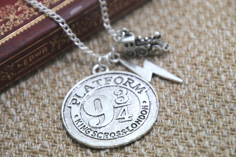 12pcs/lot HP <font><b>Hogwarts</b></font> Express Charm <font><b>Necklace</b></font> Platform 9 3/4 <font><b>Necklace</b></font> Fantasy Wizard Charm <font><b>Necklace</b></font> image