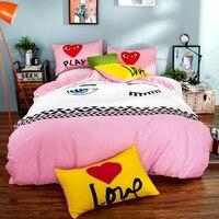 Korean Style Bedding Set 100 Cotton 4pcs Bedclothes Bed Linen Sets Queen Size Quilt Duvet Cover