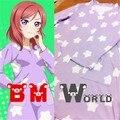 Anime Love Live Nishikino Maki Party Lovely Fashion Cosplay Costume Daily White Stars Purple Pajamas Any Size Free Shipping NEW