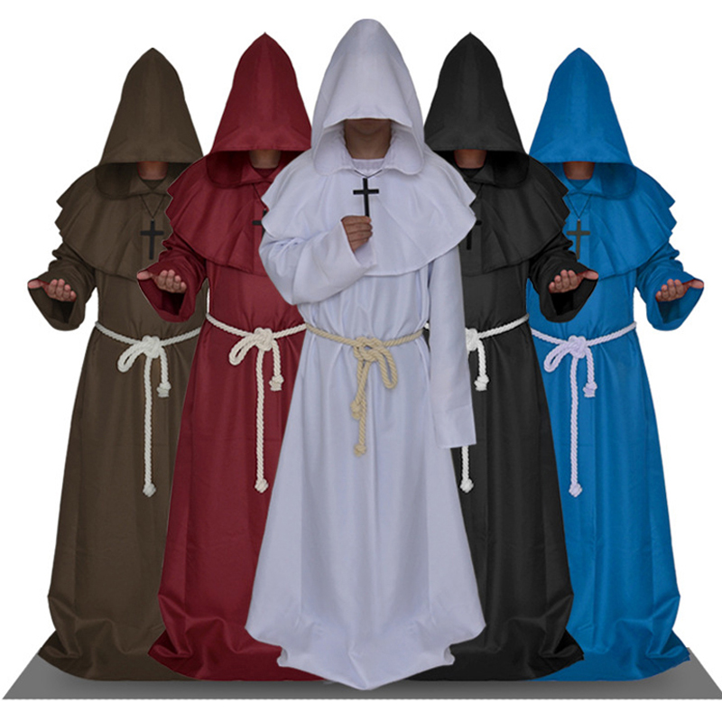 Medieval Clothing Adult Monk Robe Wizard Costume Pastor Uniform Church Priest Cos Clothing Halloween Carnival Costume 6 Colors