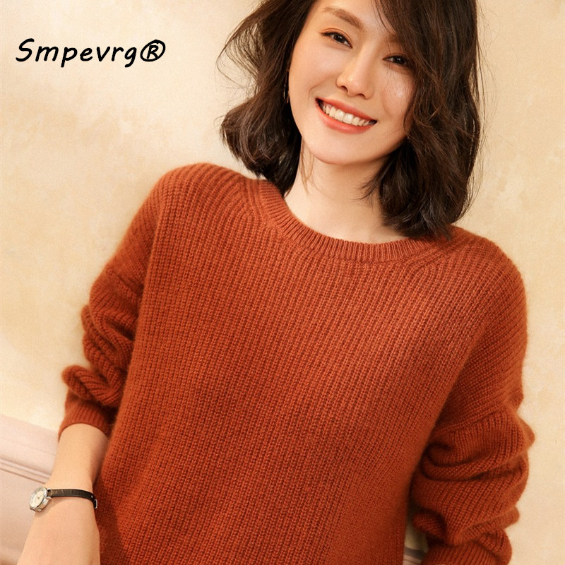 Smpevrg autumn winter cashmere sweater women sweater and pullover long sleeve O neck casual female pullover