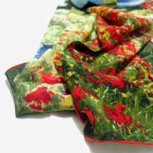 "Long Silk ""Poppy Field in Argenteuil"" Claude Monet Scarf"