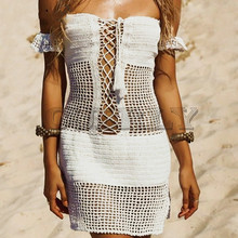 CUERLY Sexy swimsuit beach dress women Off shouder lace up hollow out summer short cover-up See through white holiday dresses