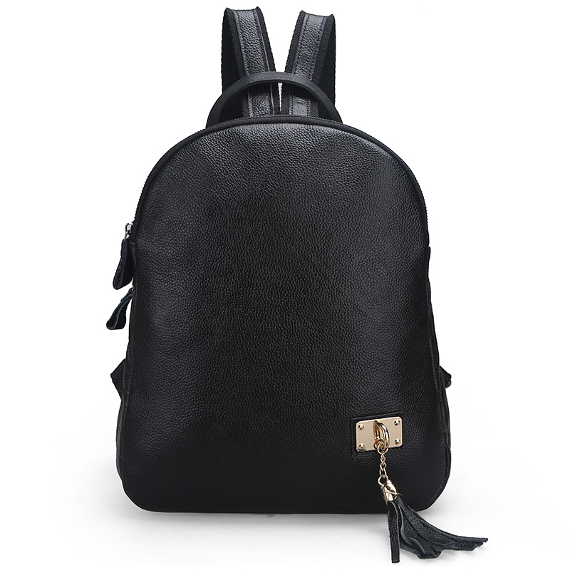 The new fashion Korean version of the first layer of cowhide ladies shoulder bag leather backpack women three-tier tassel bag korean version canvas shoulder bag backpack student bag ladies cartoon cute new child birthday gift