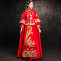 Red Formal Plus Size Chinese Wedding Dress Dragon And Phoenix Embroidered Cheongsam Qipao Robe Orientale Oriental Style Dresses
