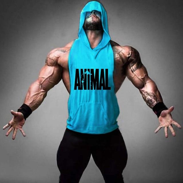 hooded sleeveless shirt stringer tank top animal mens