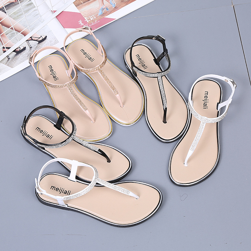 New Summer Gladiator Sandals Women Shoes Ladies Cryatal Drill Beach Shoes Luxury Designers Open Toe Heels Wedges Flip Flop Flat