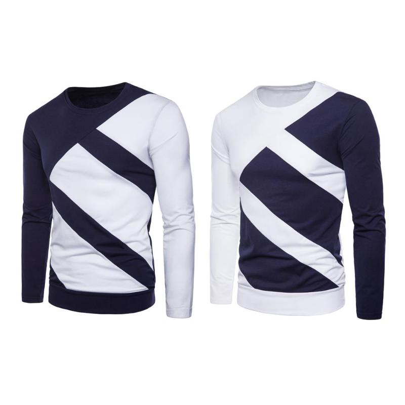 New Autumn Men Slim Fit Long Sleeve T-shirt O-Neck Splicing Color Fashion Tops Casual Patchwork Tees Male Clothing Plus Size