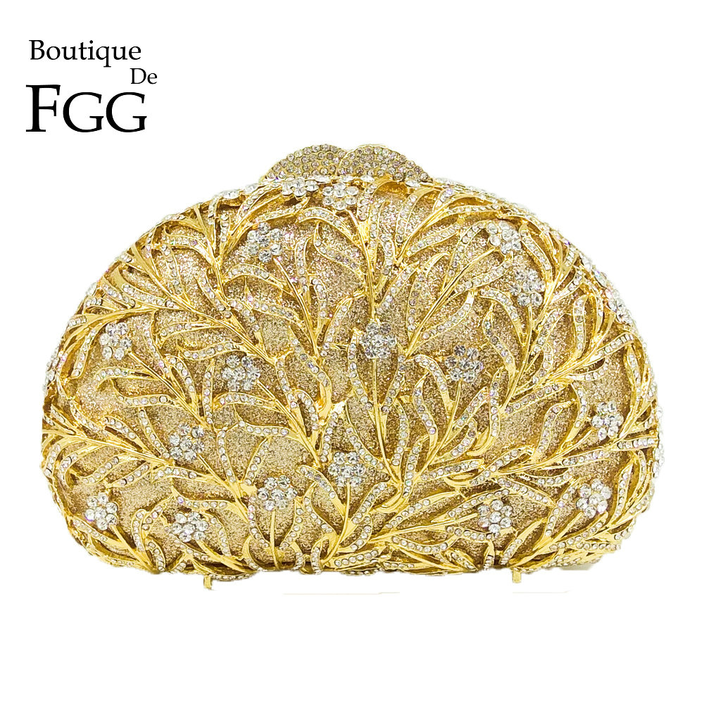 Boutique De FGG Elegance Dazzling Women Gold Crystal Purse Evening Clutch Bag Bridal Flower Handbag Wedding Party Metal Clutches