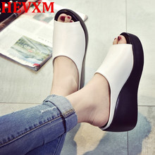 HEVXM Hot Sale Women Summer Fashion Leisure Fish Mouth Sandals Thick Bottom Slippers