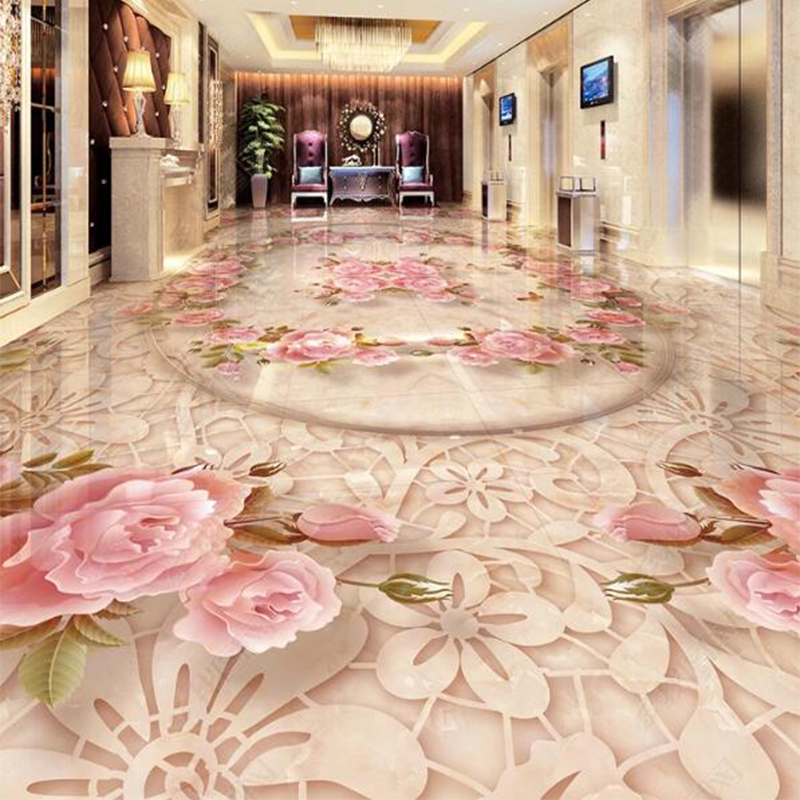3D Wallpaper European Style Marble Floral Floor Sticker Living Room Bedroom PVC Self Adhesive Waterproof Murals