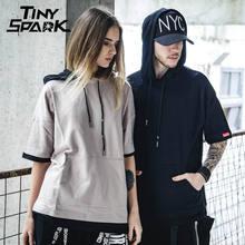 7 Colors Harajuku Hoodie Short Sleeve Mens Plain Hoodies Korean Hip Hop Streetwear New 2018 Spring Casual Sweatshirt Army Green