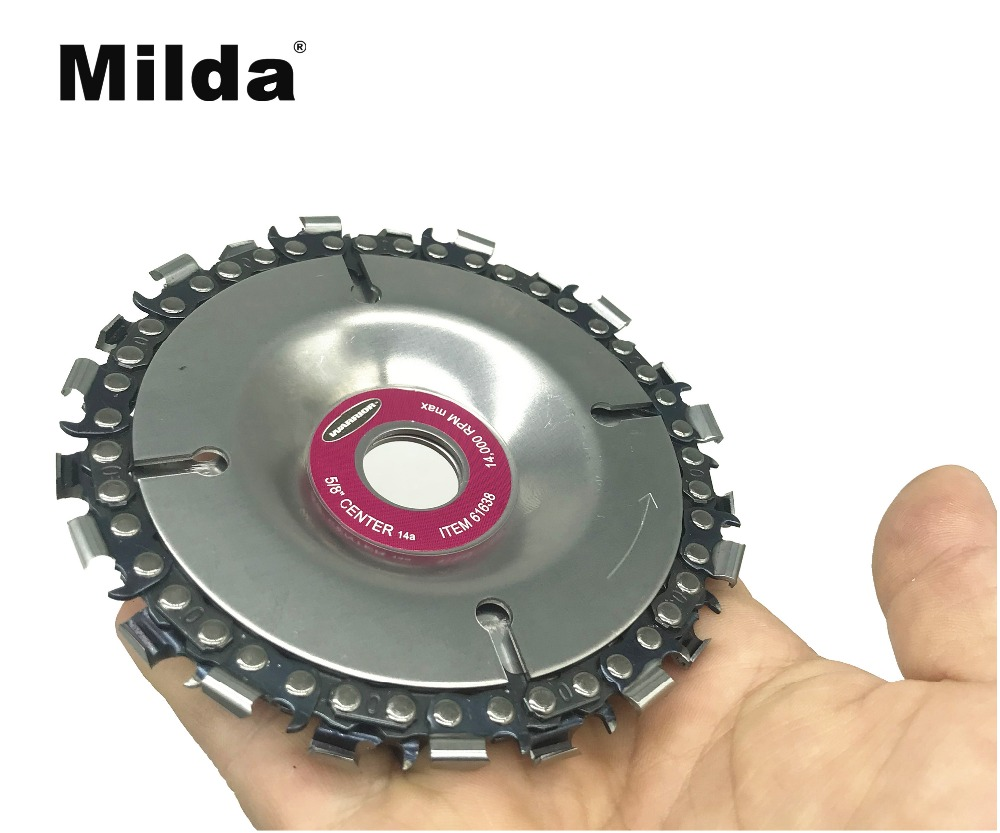 Milda 4 Inch Grinder Disc And Chain 22 Tooth Fine Cut Chain Saw Set Wood Carving Disc For 100/115 Angle Grinder Power Tool