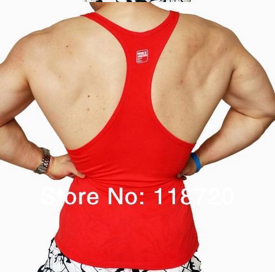 Parte superior do tanque muscular dos homens, alta elástica, colete de fitness wear, fio de algodão estreito, ou regular de volta design, XL, XXL, A101