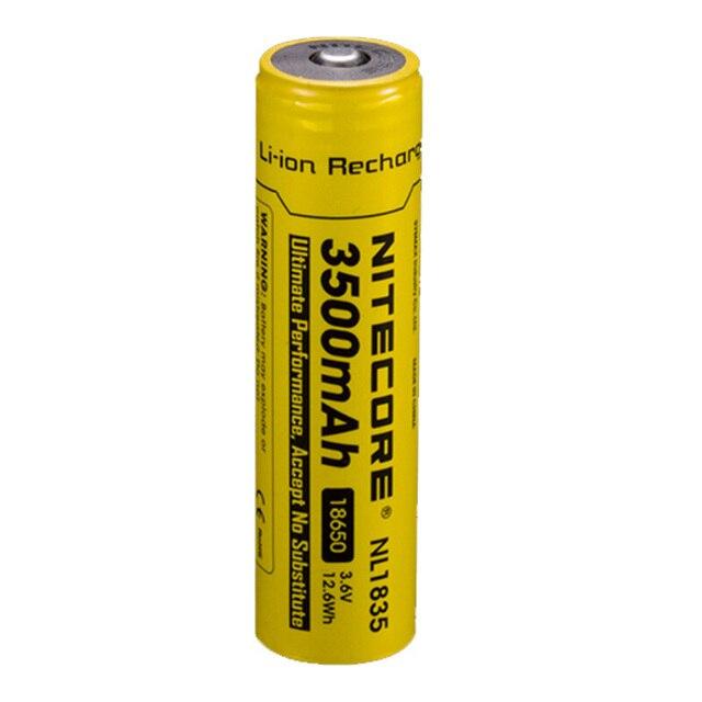 Nitecore bateria li on recarregável, 18650 3500mah nl1835 3.6v 9.6wh, botão de íon de lítio protegido, bateria superior