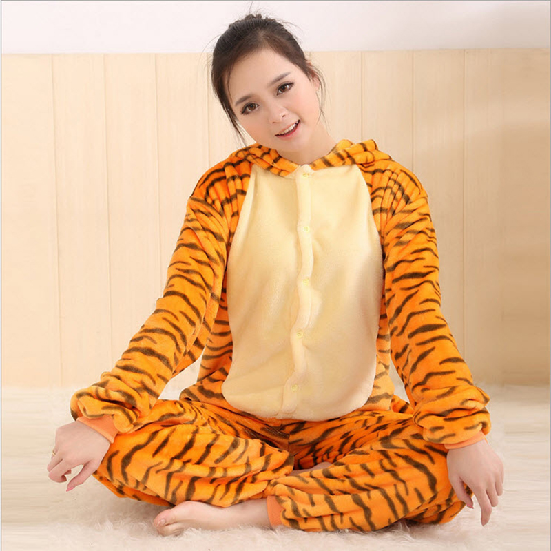 New Arrival Women s Animal Tiger Full Sleeve Polyester Sleep Lounge Onesies Unicorn Onesie Robe Sexy