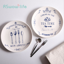 Nordic Style Tableware 8 inch Creative Classical Pattern Ceramic Snack Western Food Steak Dish Home Kitchen Supplies