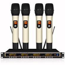 Professional microphone 4-channel UHF professional 4 collar clip handheld microphone stage karaoke wireless microphone все цены