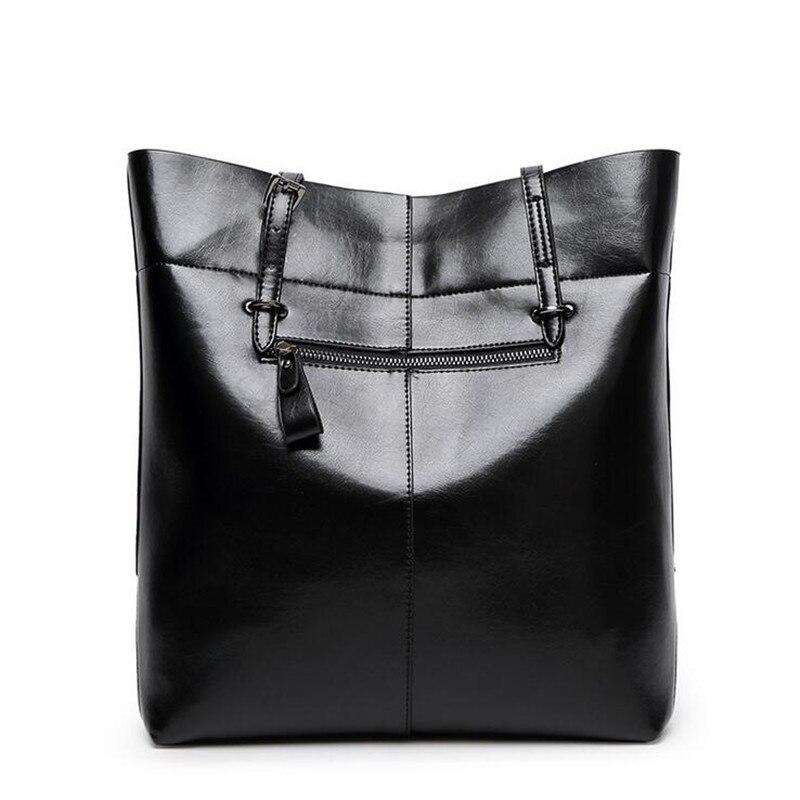 8a37c76dfe1f9 Fashion 2016 Women Leather Handbags Black Bucket Shoulder Bags ...