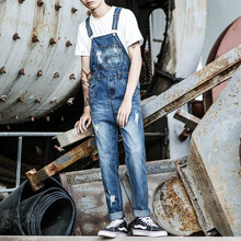 43787e1f4b5 Autumn tide Men s Personality Denim Jumpsuit Japanese Retro Motorcycle  Tooling Denim Overalls Men s   ladies feet pants