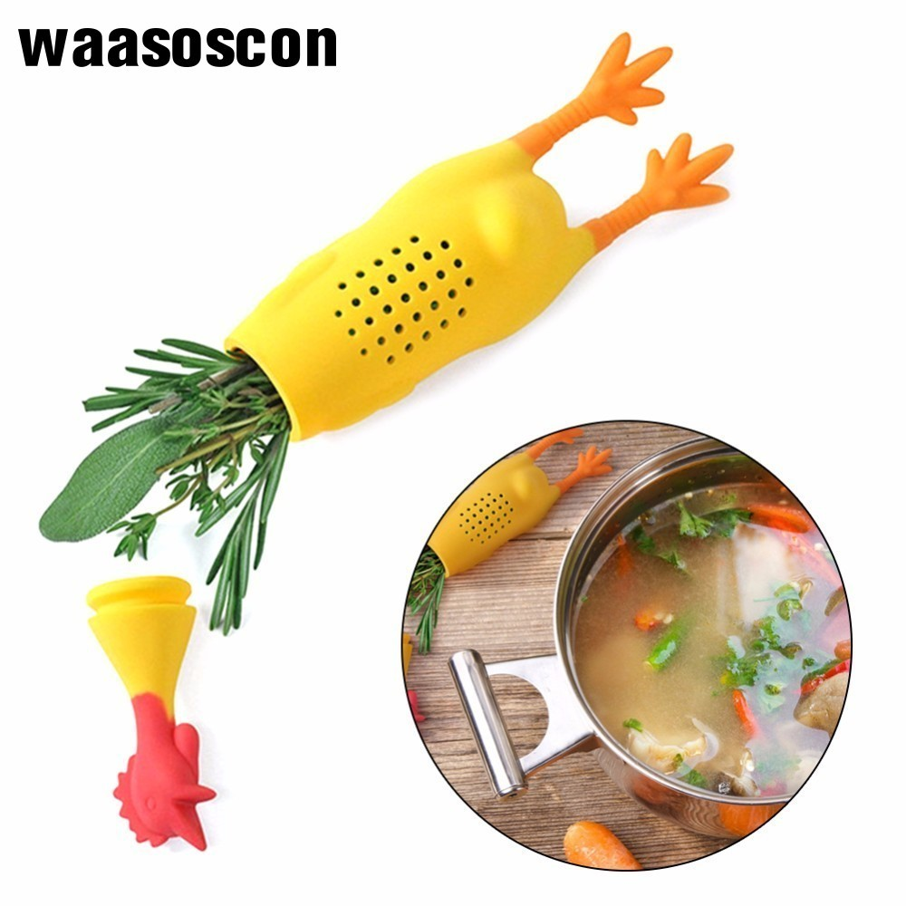 Cute Silicone Chicken Rooster Hen Silicone Infuser For Herbs Tea Seasoning Pot Condiment Container Spice Box Reusable Durable in Colanders Strainers from Home Garden