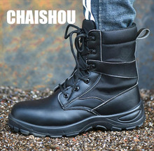 Sapatos outono inverno dos homens PU mid-bezerro de segurança do trabalho sapatos Biqueira de Aço anti-perfuração de multi-função proteção da motocicleta botas CS414