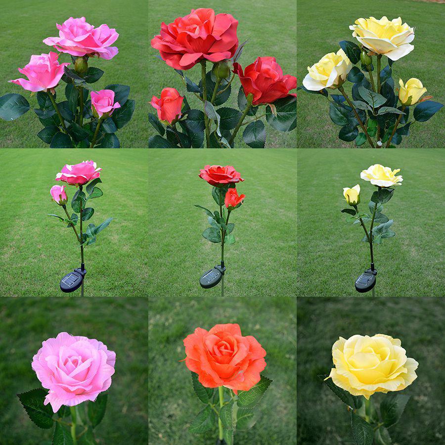 Details about  /3 Head Solar Power Rose Flower Garden Stake Landscape Lamp Outdoor Yard LED Ligh