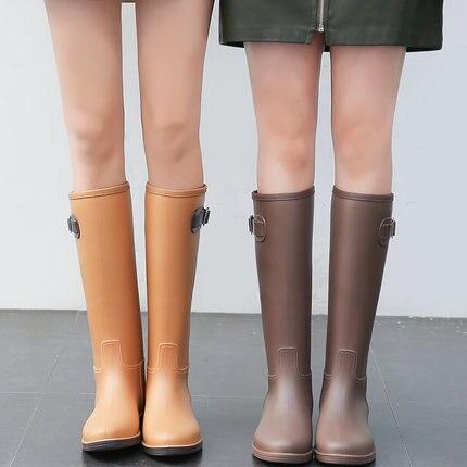 Nouveau PVC dames imperméable à l'eau bottes de pluie femmes en caoutchouc respirant mode genou haute anti-dérapant bottes de pluie chaussures d'eau femme Botas chaud