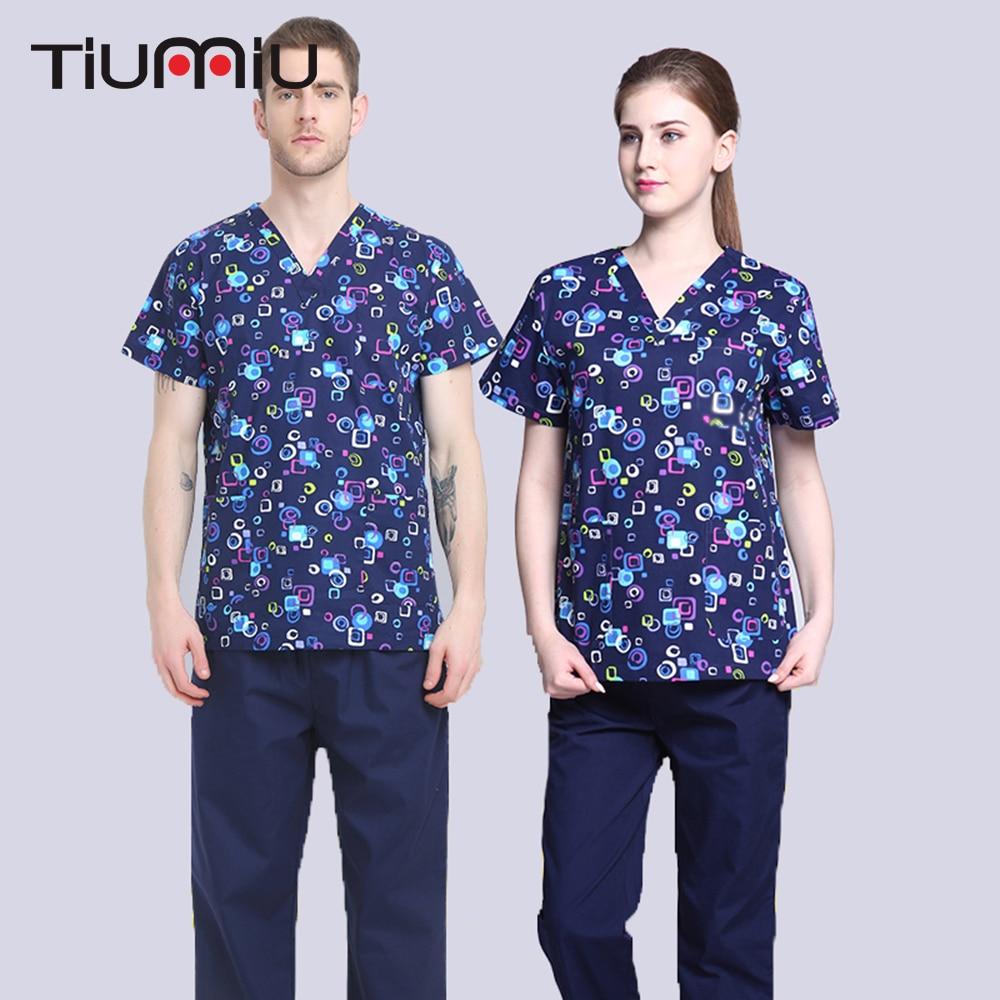 Blue Geometric Print Scrub Set Short-sleeved (Pet) Doctor Nurse Uniform Hospital Medical Beauty Salon Surgical Workwear Clothing