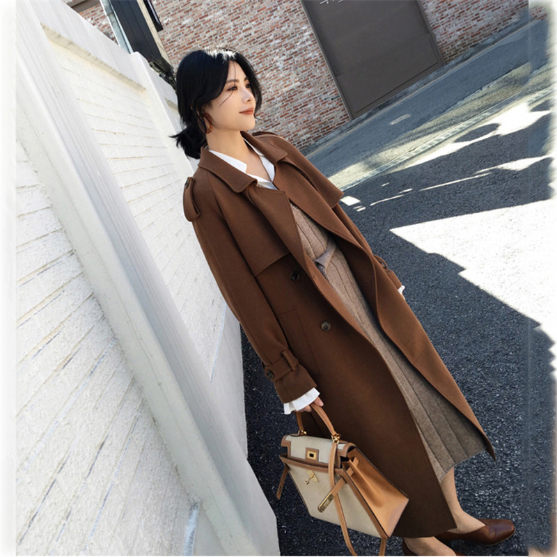2019 New Spring Women Windbreaker Coat Fashion Double breasted Long sleeve   Trench   Coats Slim long Outerwear Autumn Coats N807