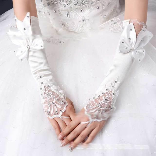 2014 suave arco strass luvas meninas luvas brancas de noiva acessórios