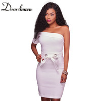 Dear Lovers Sexy Women Mini Dress One Sleeved White Black Hollow Out Slash Party Dress Summer