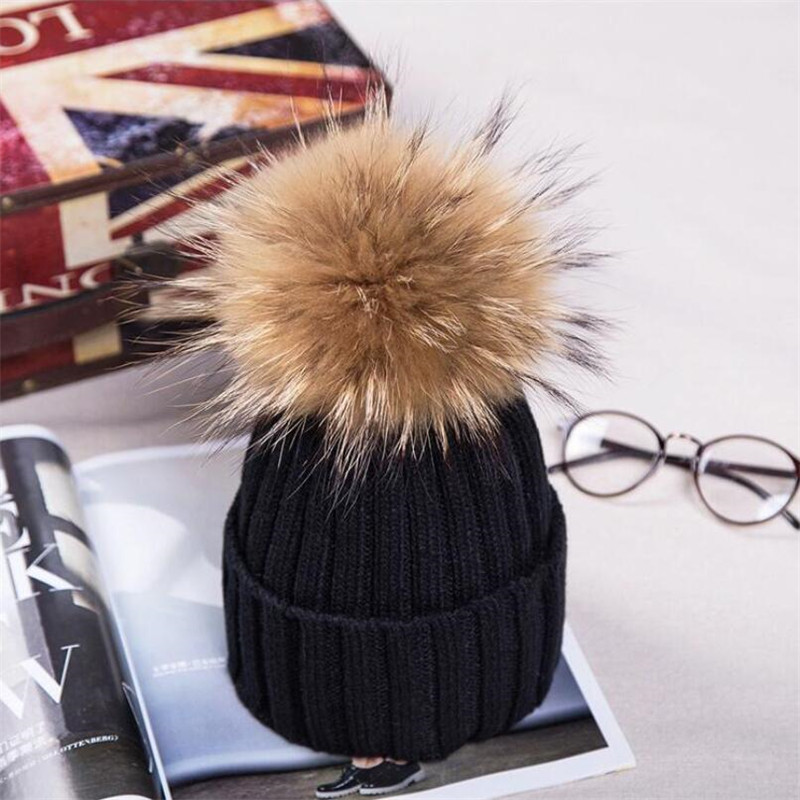 Skullies New winter women casual removable raccoon hair 15cm wool hat fashion warm hedge cap knitted hat woman winter hat skullies