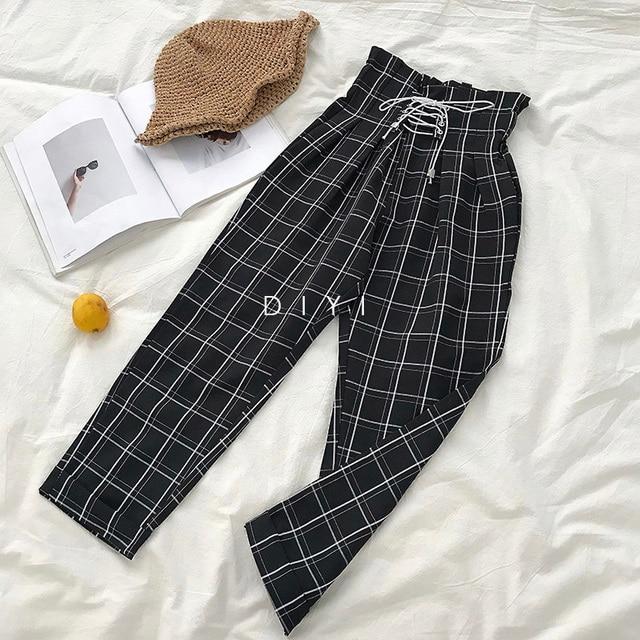 CamKemsey Japanese Harajuku Casual Pants Women 2019 Fashion Lace Up High Waist Ankle Length Loose Plaid Harem Pants 4