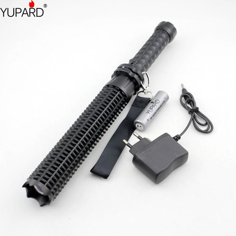YUPARD puissant LED lampe de poche lumineuse 18650 XM L2 auto-défense patrouille LED lampe de poche rechargeable + batterie + chargeur