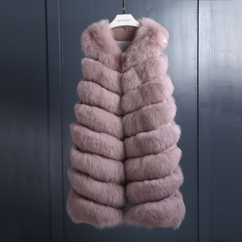 Gilet green pink Fourrure Véritable 2018 Hiver Naturel Lady Causal Style Long Nouveau Wine black De Manteau Renard Mode wqxZ4a8UW