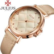 2017 julius mujeres de la marca de relojes de lujo reloj de cuarzo ocasional correa de cuero mujer reloj de señoras relojes de las mujeres relogio feminino