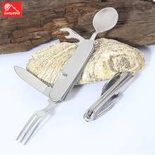 Outdoor Camping Foldable Tableware 4 In 1 With Spoon Knife Fork And Bottle Opener Multifunctional Picnic Stainless Steel Kits стоимость