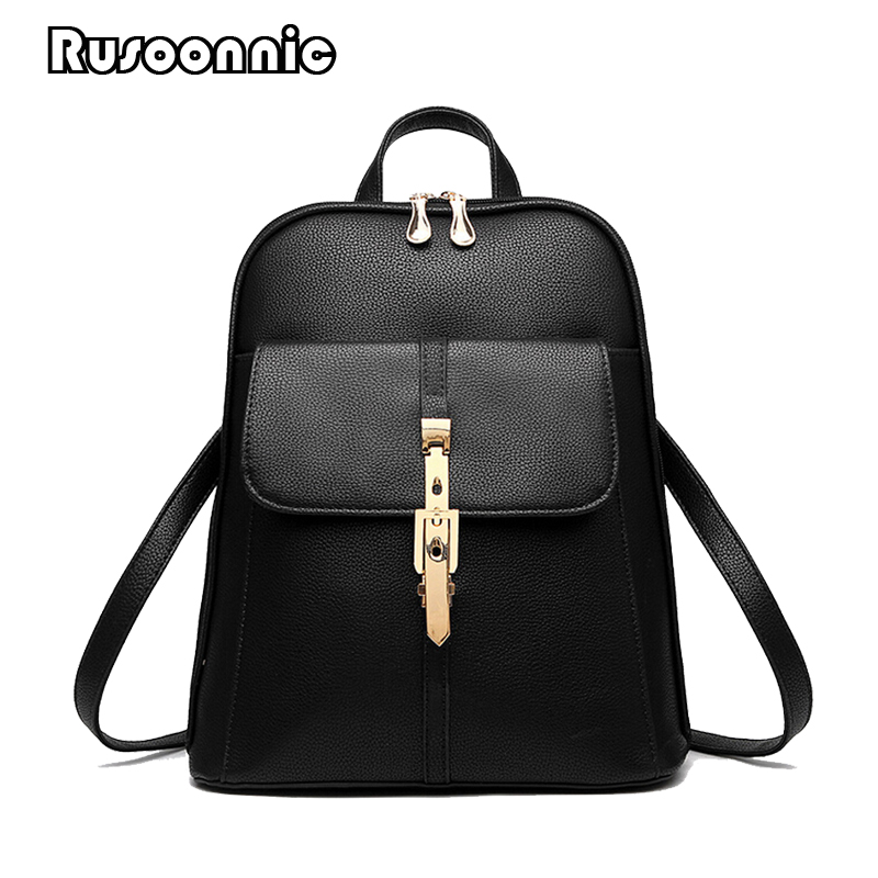 все цены на Women Leather Backpack School Bags High Quality Pu Bagpack Backpacks Mochila Feminina Rucksack Female School Bags