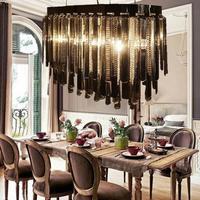 Moderne lampade di cristallo fuliggine nero LED lampadario di cristallo ristorante in stile loft coffee Bar Lungo semplice lighting design fumo di colore