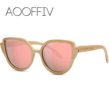 AOOFFIV Wood Sunglasses Women Polarized Lens Sun Glasses Bamboo Frame Eyewear 2017 New Designer Shades UV400 Protection ZA9069-2