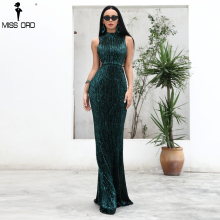 Missord 2018 Sexy O neck  Elegant Sequin  Women Dresses Lace Up Bodycon Maxi Party Dress Vestidos  FT18482