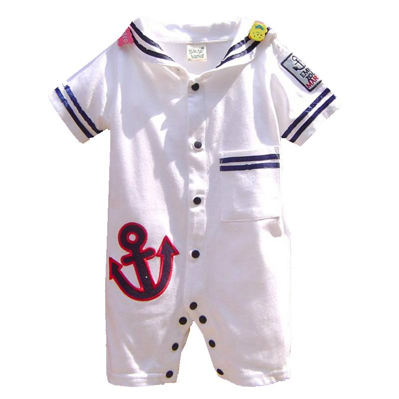 White One Piece Sailor Suit Baby Boy Romper Summer Clothes Overalls for Children Macacao Bebe Jumpsuit Newborn Infant Clothing summer 2017 navy baby boys rompers infant sailor suit jumpsuit roupas meninos body ropa bebe romper newborn baby boy clothes