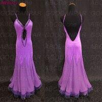 Ballroom Dancing Dress Woman Modern Waltz Tango Dance Dress standard Ballroom Competition Costume Purple sling Backless dancewea