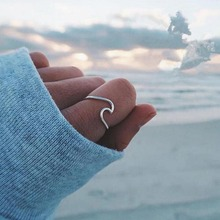 Love Heart Open Finger Ring 925 Sterling Silver Simple Ocean Wave Fashion Women Size 7 New Jewelry Gifts
