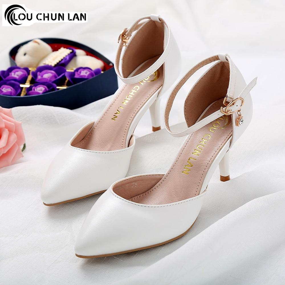 Shoes Women Sandals New Arrival High Quality Shoes 7CM White wedding shoes  bridal shoes a6aac864075d