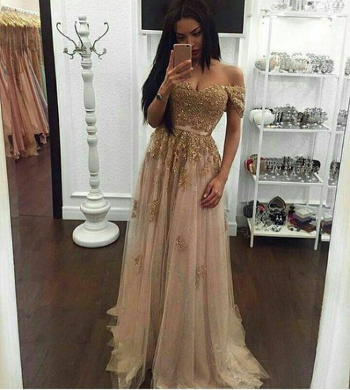 Long Gold   Prom     Dresses   2017 Sweetheart Off the shoulder Short Sleeve Sweep Train Evening Gown Lace Party   Dress